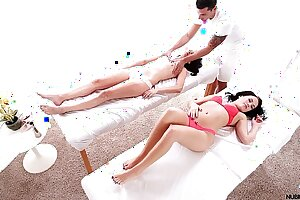 Hot teen triple with an increment of creampie